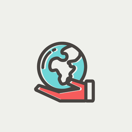 flat earth: Hand holding earth icon thin line for web and mobile, modern minimalistic flat design. Vector icon with dark grey outline and offset colour on light grey background.
