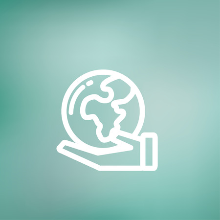 flat earth: Hand holding earth icon thin line for web and mobile, modern minimalistic flat design. Vector white icon on gradient mesh background.