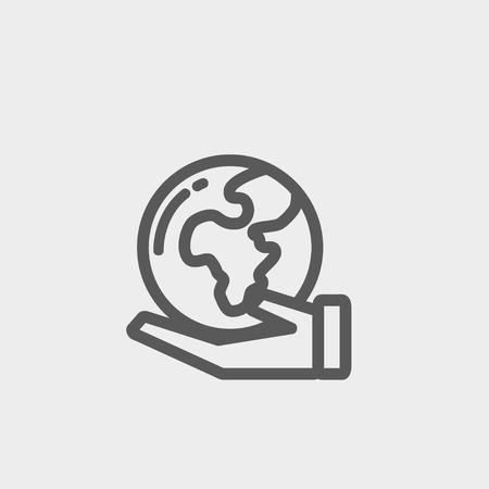 flat earth: Hand holding earth icon thin line for web and mobile, modern minimalistic flat design. Vector dark grey icon on light grey background.