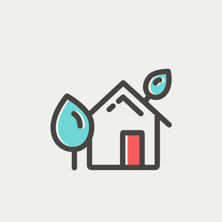 House with leaves icon thin line for web and mobile, modern minimalistic flat design. Vector icon with dark grey outline and offset colour on light grey background.