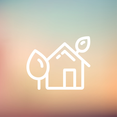 House with leaves icon thin line for web and mobile, modern minimalistic flat design. Vector white icon on gradient mesh background.