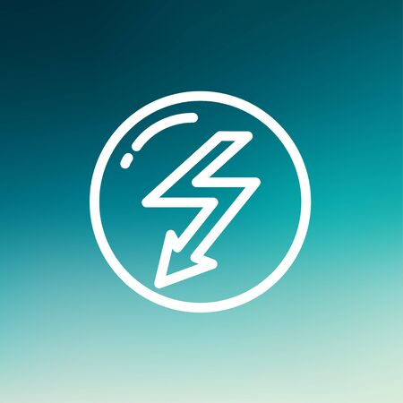 lightning arrow: bubble with lightning arrow icon thin line for web and mobile, modern minimalistic flat design. Vector white icon on gradient mesh background.