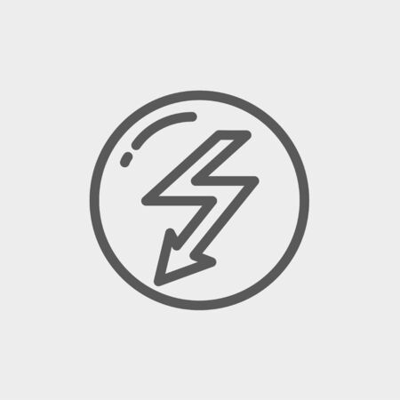 lightning arrow: Bubble with lightning arrow icon thin line for web and mobile, modern minimalistic flat design. Vector dark grey icon on light grey background. Illustration