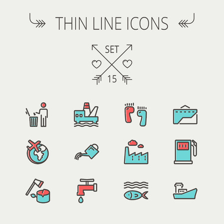 watering can: Ecology thin line icon set for web and mobile. Set includes-gasoline pump, fish, ship, garbage bin,watering can, faucet, global icons. Modern minimalistic flat design. Vector icon with dark grey outline and offset colour on light grey background Illustration