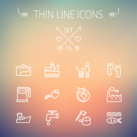 Ecology thin line icon set for web and mobile. Set includes-gasoline pump, fish, ship, garbage bin,watering can, faucet, global  icons. Modern minimalistic flat design. Vector white icon on gradient mesh background.