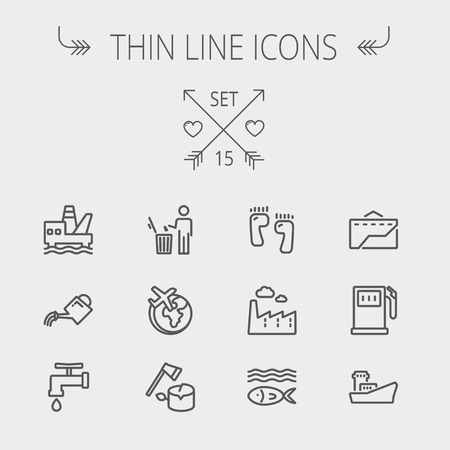 thin bulb: Ecology thin line icon set for web and mobile. Set includes-gasoline pump, fish, ship, garbage bin,watering can, faucet, global icons. Modern minimalistic flat design. Vector dark grey icon on light grey background. Illustration
