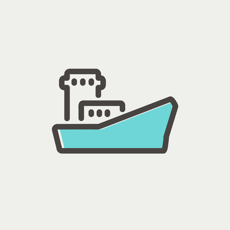 Cargo container ship thin line for web and mobile, modern minimalistic flat design. Vector icon with dark grey outline and offset colour on light grey background.