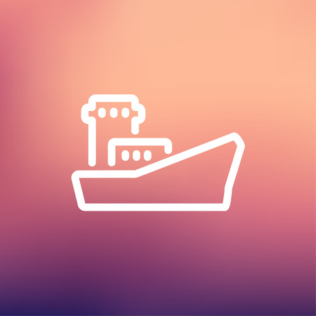 Cargo container ship icon thin line for web and mobile, modern minimalistic flat design. Vector white icon on gradient mesh background. Illustration