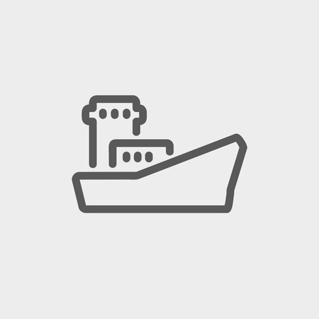 Cargo container ship icon thin line for web and mobile, modern minimalistic flat design. Vector dark grey icon on light grey background. Vector
