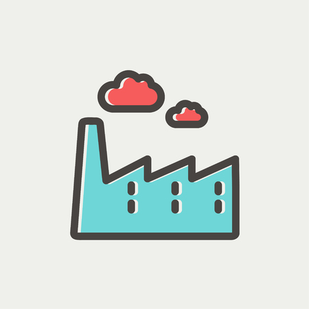 distill: Factory pipe icon thin line for web and mobile, modern minimalistic flat design. Vector icon with dark grey outline and offset colour on light grey background. Illustration