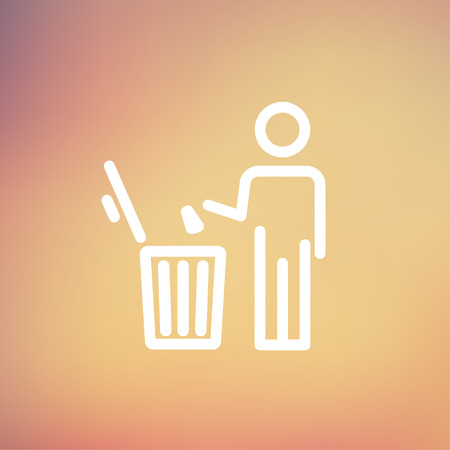 garbage man: man throwing garbage in a bin icon thin line for web and mobile, modern minimalistic flat design. Vector white icon on gradient mesh background.