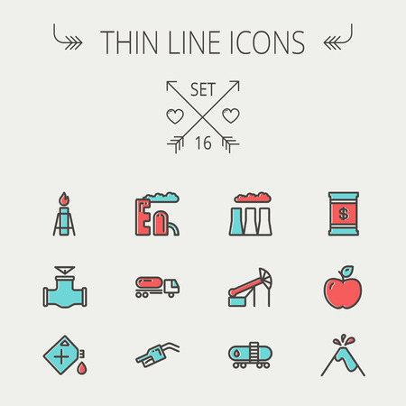gas tank: Ecology thin line icon set for web and mobile. Set includes- gas tank, truck, nozzle, container, pipe, valve, volcano, factory icons. Modern minimalistic flat design. Vector icon with dark grey outline and offset colour on light grey background Illustration