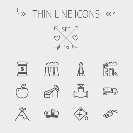 Ecology thin line icon set for web and mobile. Set includes - gas tank, truck, nozzle, container, pipe, valve, volcano, factory icons. Modern minimalistic flat design. Vector dark grey icon on light grey background.