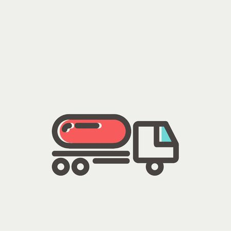 fuel truck: Fuel truck icon thin line for web and mobile, modern minimalistic flat design. Vector icon with dark grey outline and offset colour on light grey background.