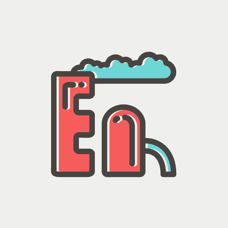 environmen: Factory pipe icon thin line for web and mobile, modern minimalistic flat design. Vector icon with dark grey outline and offset colour on light grey background. Illustration