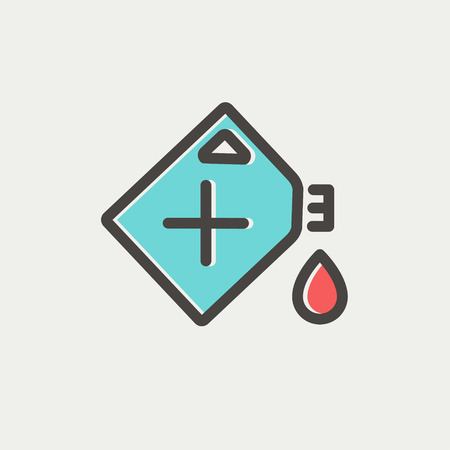 siluette: Gas container icon thin line for web and mobile, modern minimalistic flat design. Vector icon with dark grey outline and offset colour on light grey background.