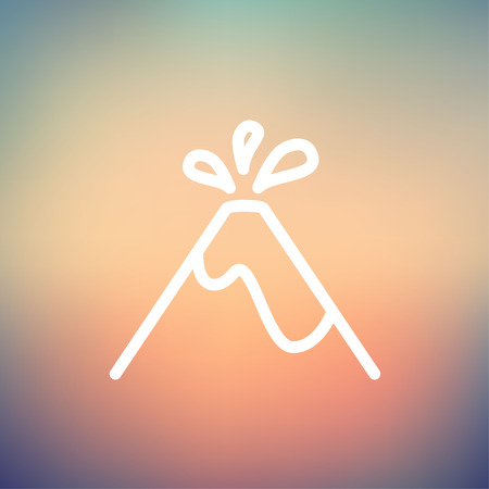 ash cloud: Volcano exploding icon thin line for web and mobile, modern minimalistic flat design. Vector white icon on gradient mesh background.
