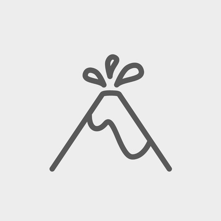 ash cloud: Volcano exploding icon thin line for web and mobile, modern minimalistic flat design. Vector dark grey icon on light grey background.