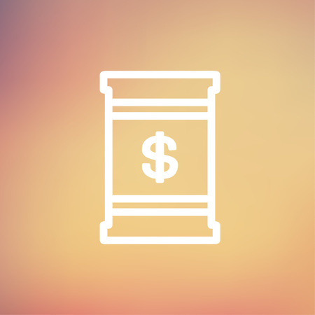 Barrel with dollar symbol icon thin line for web and mobile, modern minimalistic flat design. Vector white icon on gradient mesh background.