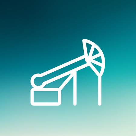 Pump jack oil crane icon thin line for web and mobile, modern minimalistic flat design. Vector white icon on gradient mesh background.