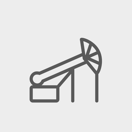 Pump jack oil crane icon thin line for web and mobile, modern minimalistic flat design. Vector dark grey icon on light grey background. Ilustrace
