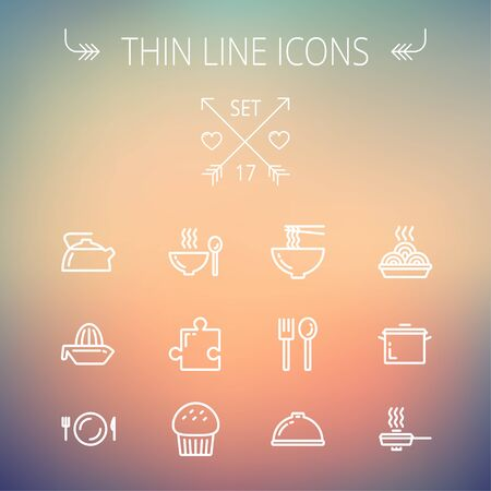 Ecology thin line icon set for web and mobile. Set includes- cupcakes, spoon and fork, plate, kettle, casserole, hot meal, frying pan icons. Modern minimalistic flat design. Vector white icon on gradient mesh background.