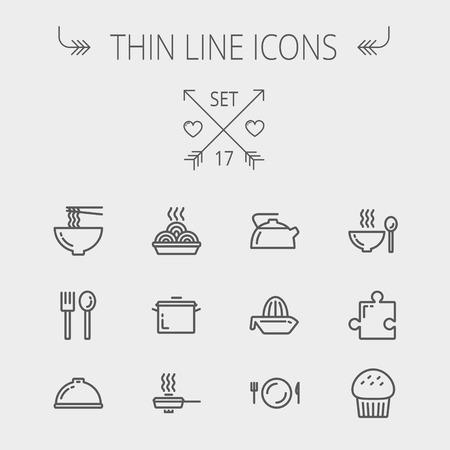 Eten dunne lijn icon set voor web en mobiel. Set omvat-cupcakes, lepel en vork, plaat, waterkoker, braadpan, warme maaltijd, koekenpan pictogrammen. Moderne minimalistische platte design. Vector donker grijs pictogram op de lichtgrijze achtergrond. Stockfoto - 38990555