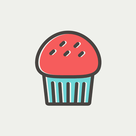 Cupcake thin line iconw puzzle icon thin line for web and mobile, modern minimalistic flat design. Vector icon with dark grey outline and offset colour on light grey background. Illustration