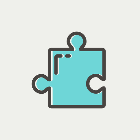 jig saw puzzle: Jigsaw puzzle thin line iconw puzzle icon thin line for web and mobile, modern minimalistic flat design. Vector icon with dark grey outline and offset colour on light grey background.