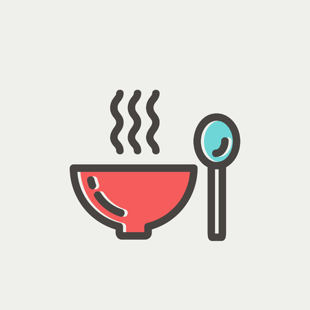 restaurateur: Bowl of hot soup with spoon icon thin line for web and mobile, modern minimalistic flat design. Vector icon with dark grey outline and offset colour on light grey background.