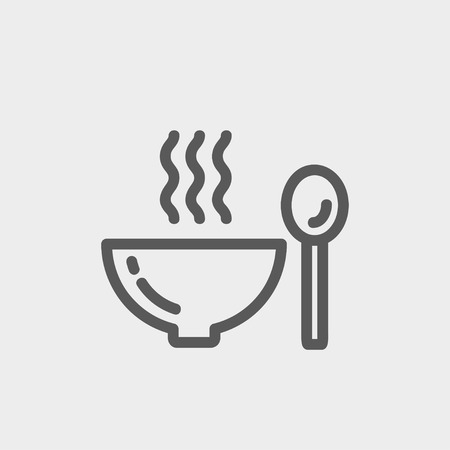 soup: Bowl of hot soup with spoon icon thin line for web and mobile, modern minimalistic flat design. Vector dark grey icon on light grey background.