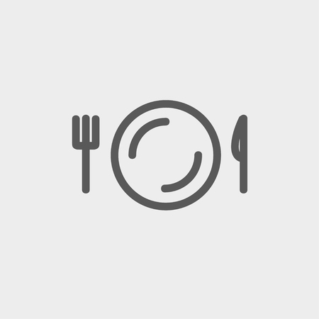 plate of food: Plate, knife and fork icon thin line for web and mobile, modern minimalistic flat design. Vector dark grey icon on light grey background.