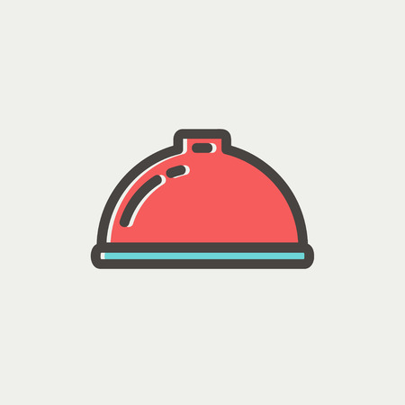 minimal: Food serving tray icon thin line for web and mobile, modern minimalistic flat design. Vector icon with dark grey outline and offset colour on light grey background. Illustration