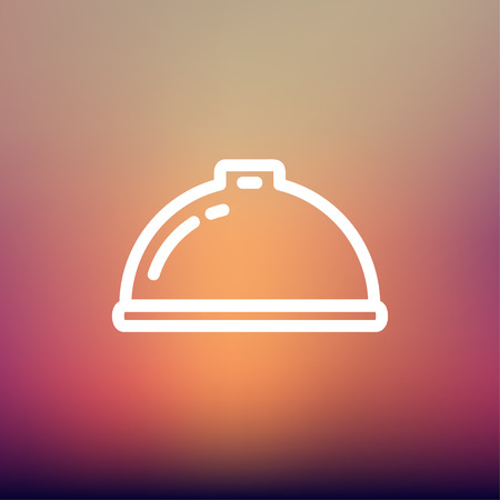 minimal: Food serving tray icon thin line for web and mobile, modern minimalistic flat design. Vector white icon on gradient mesh background.