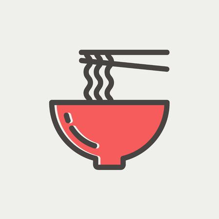 箸アイコン web とモバイルでモダンなミニマルなフラットなデザインのための細い線のペアと麺のボウル。濃い灰色のアウトラインと明るい灰色の背