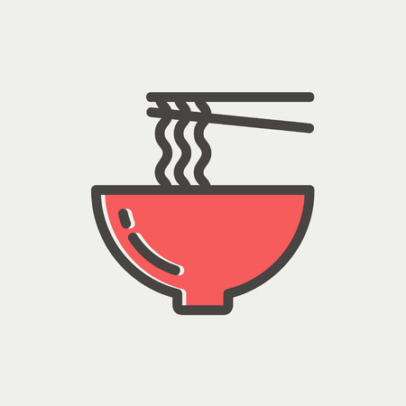 Bowl of noodles with a pair of chopsticks icon thin line for web and mobile, modern minimalistic flat design. Vector icon with dark grey outline and offset colour on light grey background. Vettoriali