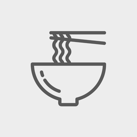 ramen: Bowl of noodles with a pair of chopsticks icon thin line for web and mobile, modern minimalistic flat design.  Vector dark grey icon on light grey background.