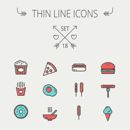 continental food: Food  thin line icon set for web and mobile. Set includes- cupcakes, spoon and fork, plate, kettle, casserole, hot meal, frying pan icons. Modern minimalistic flat design. Vector icon with dark grey outline and offset colour on light grey background