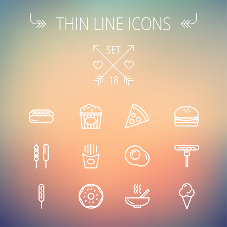 continental food: Food thin line icon set for web and mobile. Set includes- cupcakes, spoon and fork, plate, kettle, casserole, hot meal, frying pan icons. Modern minimalistic flat design. Vector white icon on gradient mesh background.