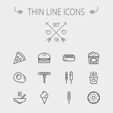 continental food: Food thin line icon set for web and mobile. Set includes- cupcakes, spoon and fork, plate, kettle, casserole, hot meal, frying pan icons. Modern minimalistic flat design. Vector dark grey icon on light grey background.