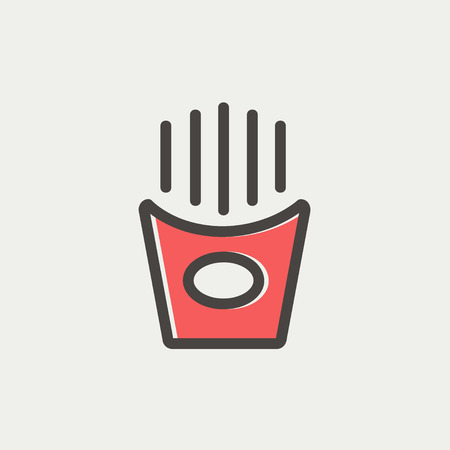 Popcorn icon thin line for web and mobile, modern minimalistic flat design. Vector icon with dark grey outline and offset colour on light grey background. Ilustração