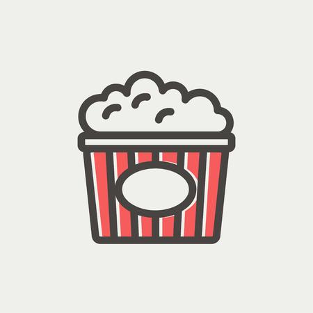 palomitas: Icono Palomitas línea delgada para web y móvil, diseño plano minimalista moderno. Icono del vector con el esquema de color gris oscuro y el color offset en el fondo gris claro.