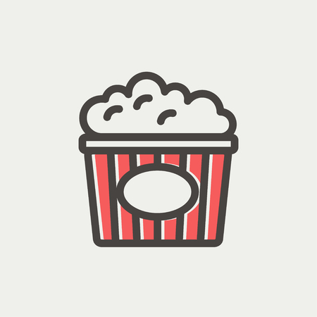 eating popcorn: Popcorn icon thin line for web and mobile, modern minimalistic flat design. Vector icon with dark grey outline and offset colour on light grey background. Illustration