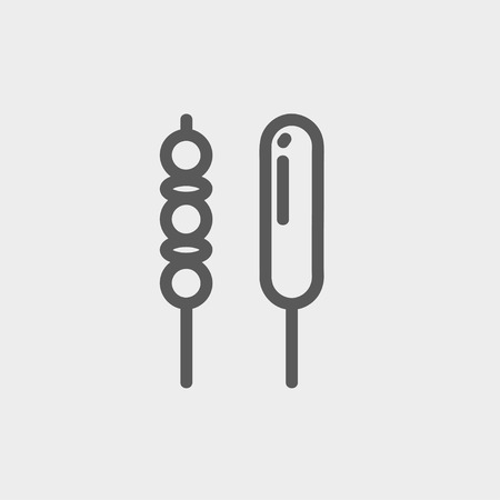 Grilled pork and hotdog icon thin line for web and mobile, modern minimalistic flat design.  Vector dark grey icon on light grey background.