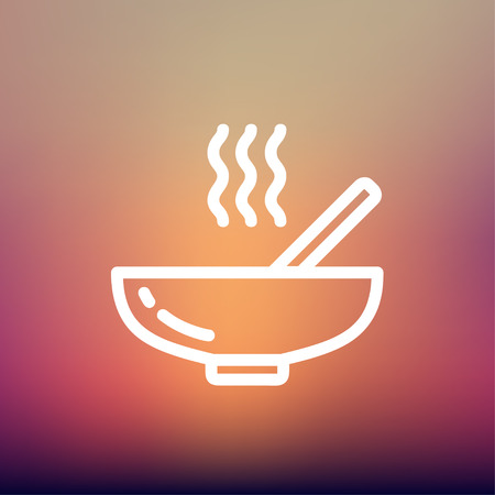 steamy: Hot meal in bowl icon thin line for web and mobile, modern minimalistic flat design. Vector white icon on gradient mesh background.