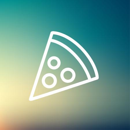 Web とモバイルでモダンなミニマルなフラットなデザインのためピザ スライス アイコン細い線。グラデーション メッシュの背景に白いベクトル アイ