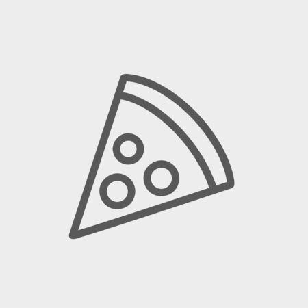 Web とモバイルでモダンなミニマルなフラットなデザインのためピザ スライス アイコン細い線。 ベクトルにライトグレーの背景の暗い灰色のアイコ