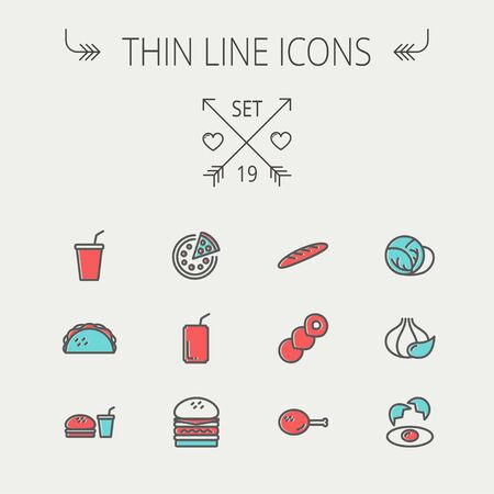 Food and drink thin line icon set for web and mobile. Set includess- onion, egg, chicken, meal set, soda, burger, taco icons. Modern minimalistic flat design. Vector icon with dark grey outline and offset colour on light grey background