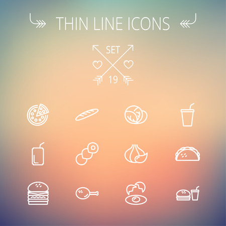 continental food: Food and drink thin line icon set for web and mobile. Set includes-onion, egg, chicken, meal set, soda, burger, taco icons. Modern minimalistic flat design. Vector white icon on gradient mesh background.