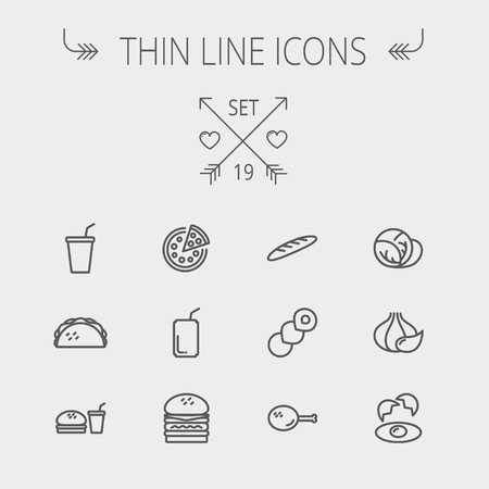 continental food: Food and drink thin line icon set for web and mobile. Set includes- onion, egg, chicken, meal set, soda, burger, taco icons. Modern minimalistic flat design. Vector dark grey icon on light grey background. Illustration